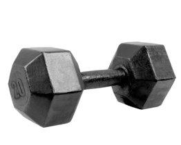 Гантель гексагональная литая черная, 20 кг