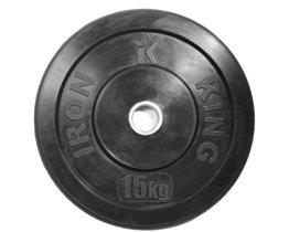 Диск для функционального тренинга (бампер) черный 15 кг Стальная втулка