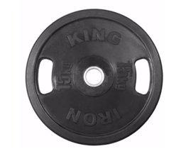 Диск Евро-Классик обрезиненный черный 15 кг. С хватами. Стальная втулка